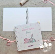 Taufe Gästebuchalbum blanko in 25x25cm Hase rosa