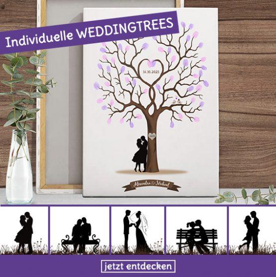 Fingerabdruck Poster und Leinwand für dich Hochzeit mit Baum
