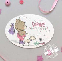 Türschild mit Namen für Mädchen mit Bären