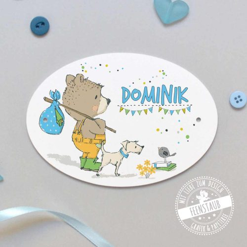 Türschild Kinderzimmer bedruckt mit Bären und Namen