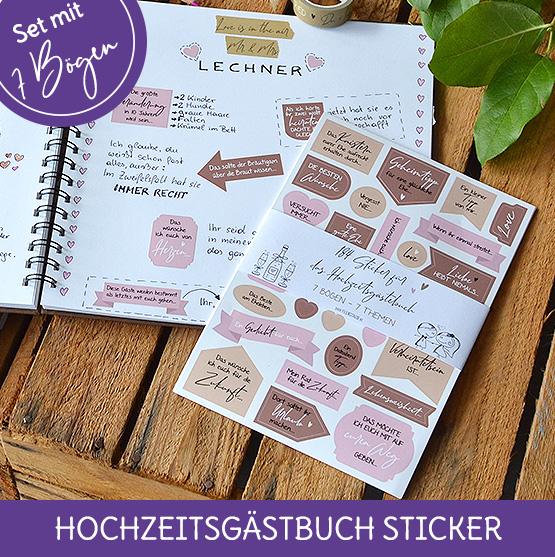 Aukleber uns Sticker für das Hochzeitsgästebuch