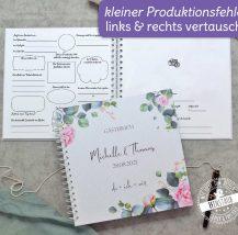 Gästebuch für die Hochzeit zum Ausfüllen mit Fragen, Rosenmotiv