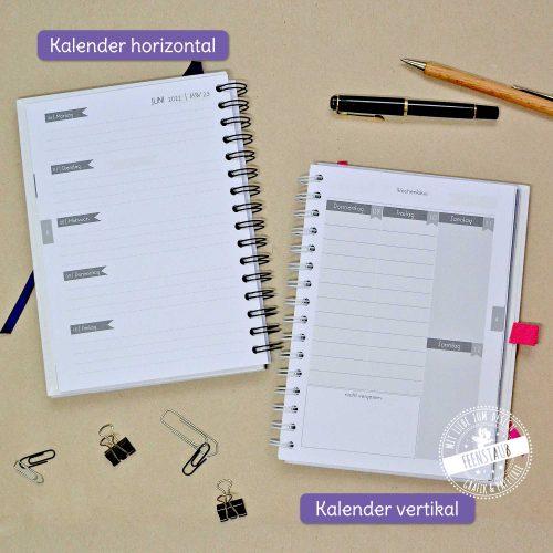 Kalender horizontal und Kalender vertikal