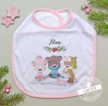 Babylätzchen mit Namen des Babys und süßen Tieren zu Weihnachten