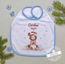 Lätzchen für Weihnachtsfest mit Bär und Namen des Babys