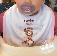 Geschenk zum Nikolo für Baby - personalisiertes Babylätzchen mit weihnachtlichen Tiermotiven
