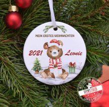 WEihnachtsbaumanhänger personalisiert mit Namen für erstes Weihnachtsfest