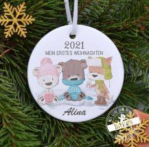 Weihnachtskugel aus Keramik personalisiert für kInder