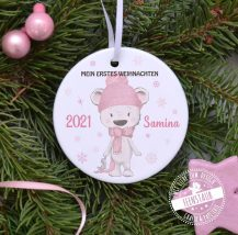 Mein erstes Weihnachten, bedruckte Weihnachtskugel mit süßem Bären und Namen