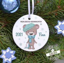 erinnerung für erstes Weihnachtsfest, bedruckte Christbaumkugel