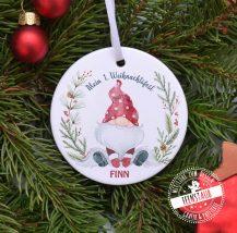 Personalisierte Weihnachtskugel mit Namen und Weihnachtsgnom