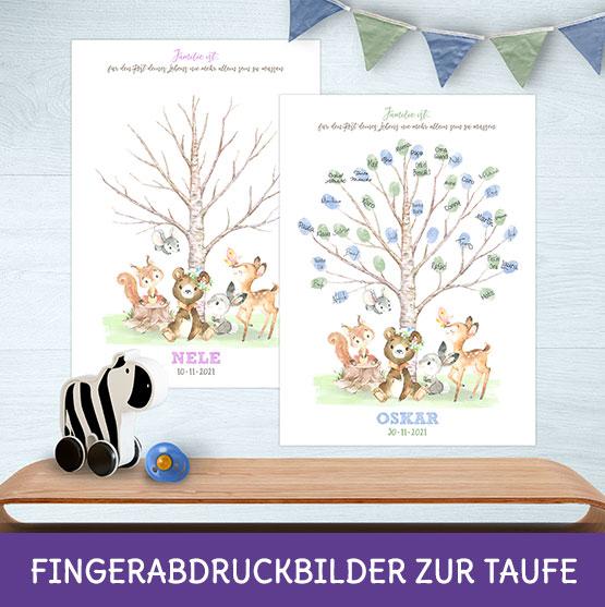 Taufbaum mit Fingerabdrücken als Alternative zum Gästebuch
