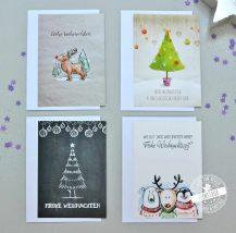 4 Karten im Set für Weihnachtskarten